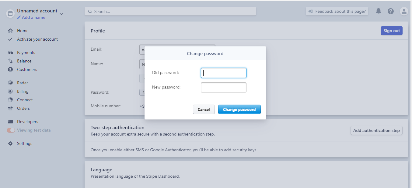 Stripe change password